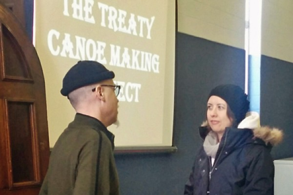 Artist Alex McKay discusses his work with student Michelle Rovere.