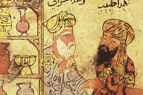 detail of Arabic artwork depicting a poetry reading