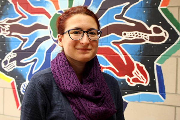 Melissa Ammonite models the infinity scarf she bought from the Womyn's Centre.