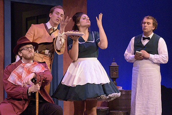 "The cast of ""Scapino!"" enjoys some delicious pasta"