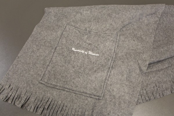 "beautiful fleece scarf, ""University of Windsor"" stitched on it"