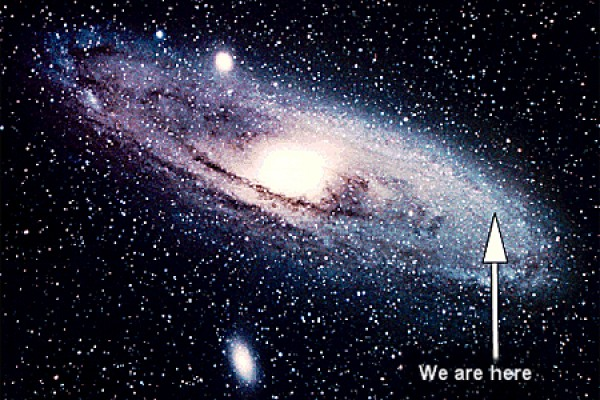 "picture of galaxy labelled ""we are here"""