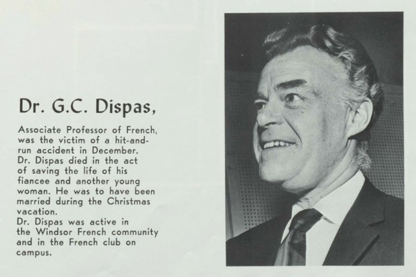 Yearbook tribute to French professor Gustave C. Dispas