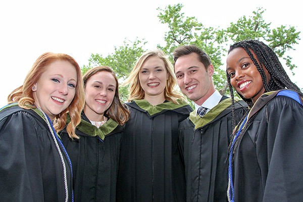 Kinesiology graduands in academic gowns