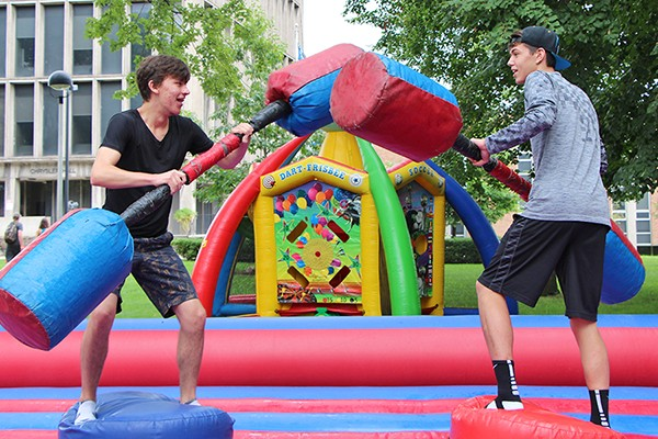 Matthew Nelson and Sheldon Foldesi joust.