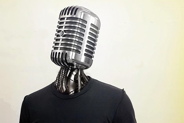 microphone-headed person