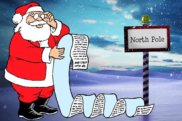 Santa checking list twice at North Pole