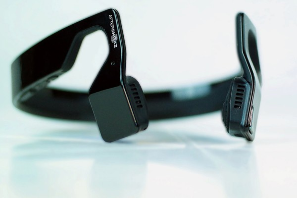 "Aftershokz ""bone conduction"" wireless headphones"