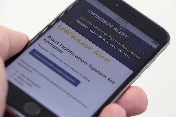 mobile phone displaying UWindsor Alert registration screen