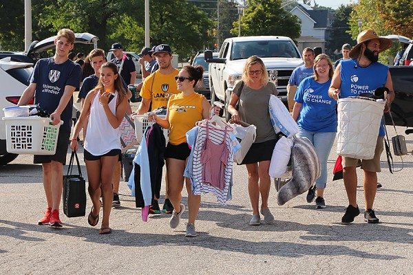 Student volunteers pitched in to help new residents during Move-in Day, Sunday on the UWindsor campus.