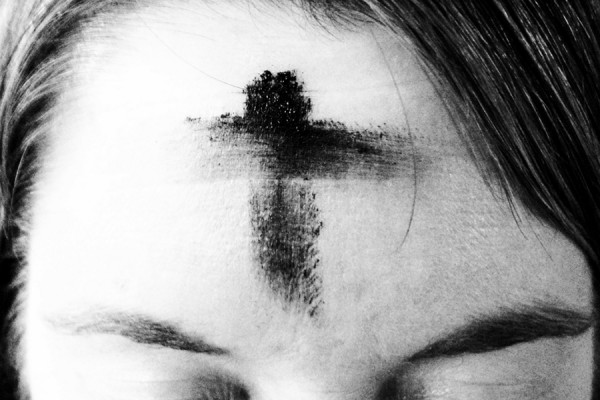 forehead with ashen cross