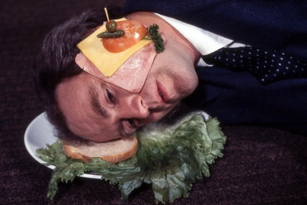 "Image of the 1978 conceptual piece ""Iain Baxter as an open faced sandwich."""