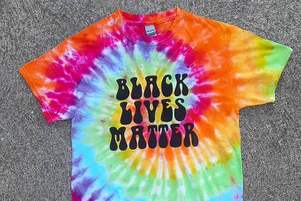 Tie-dyed T-shirt reading Black Lives Matter
