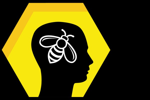 Brain Bee logo - silhouetted head with bee inside