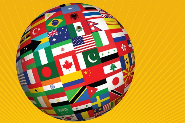 Celebration of Nations logo -- globe composed of flags