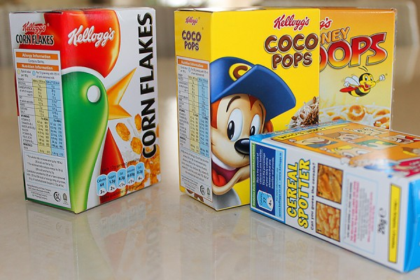 boxes of Kellogg's cereals