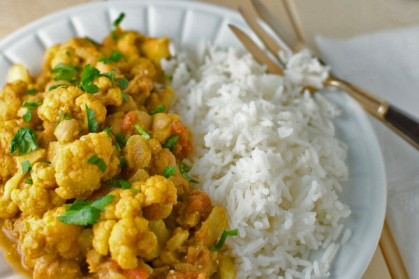 Chickpea and cauliflower curry on rice