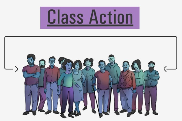"Group of people headlined ""Class Action"""