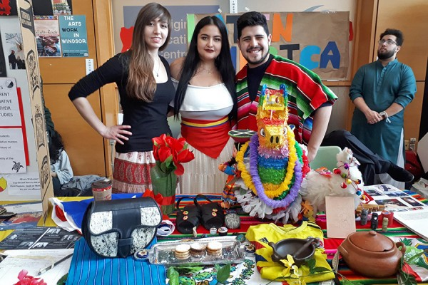 display of clothing and artifacts shows off Latin American culture