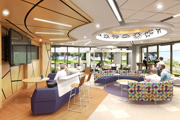 artist's rendering of the Collaboratory in the Leddy Library