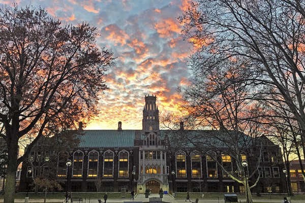 Dillon Hall with spectacular sunsent behind