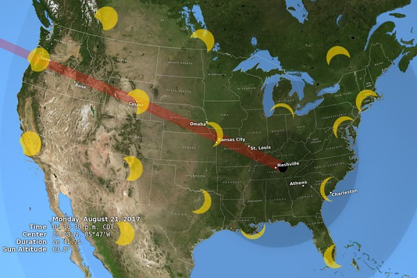 map showing path of eclipse across North America