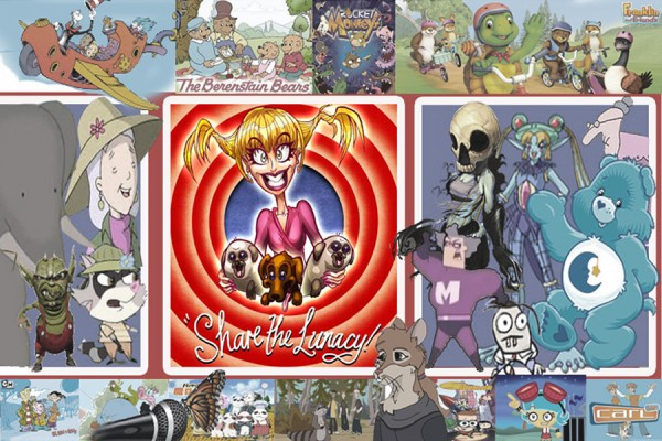 caricature of Elley-Ray Hennessy surrounded by cartoon characters she has voiced
