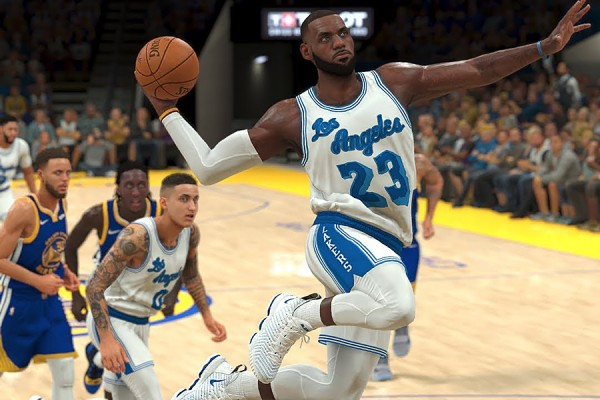 Virtual LeBron James prepares to take a shot