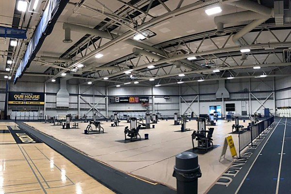 fieldhouse full of workout equipment