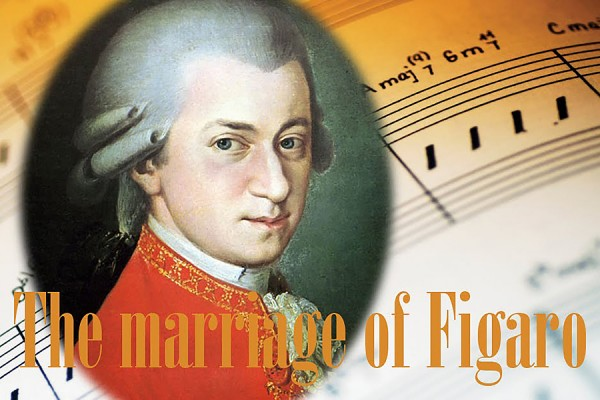 image of Mozart imposed on musical score