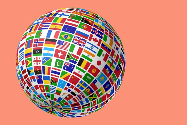 Globe made up of flags of the world