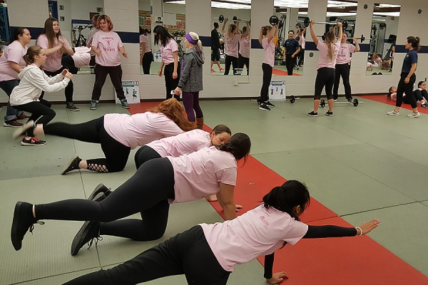 Girls in Motion, Friday in the St. Denis Centre, engaged about 150 local Grade 10 and 11 girls in fitness activities.