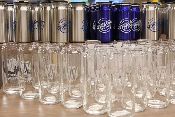 water bottles and glasses