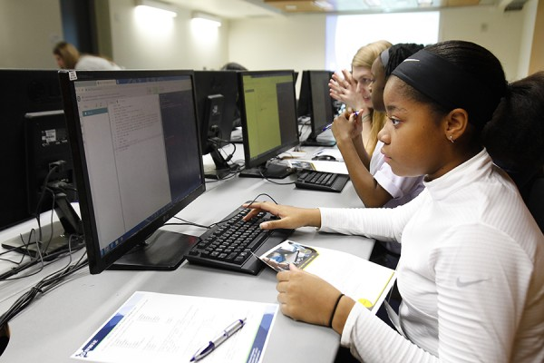 Young woman working in computer lab