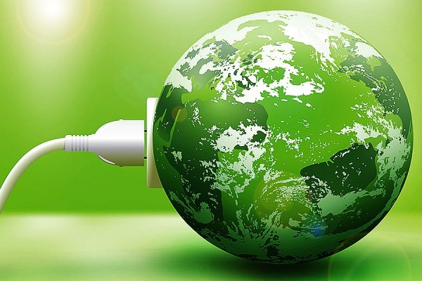 model earth with green plug