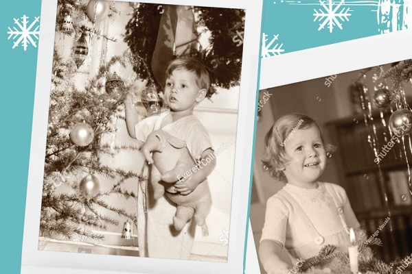 sepia photos of children at Christmas