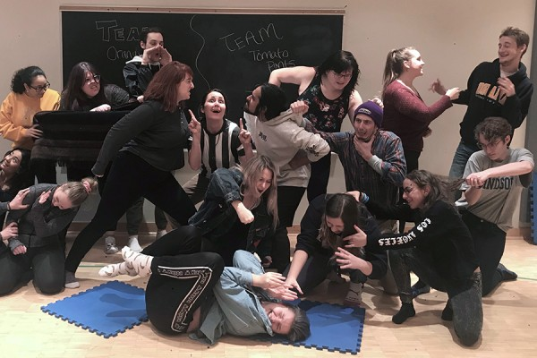 students goofing around in improv class