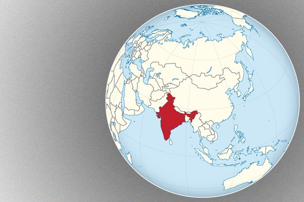 globe highlighting India