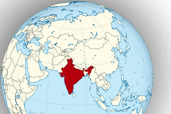 Globe highlighting location of India