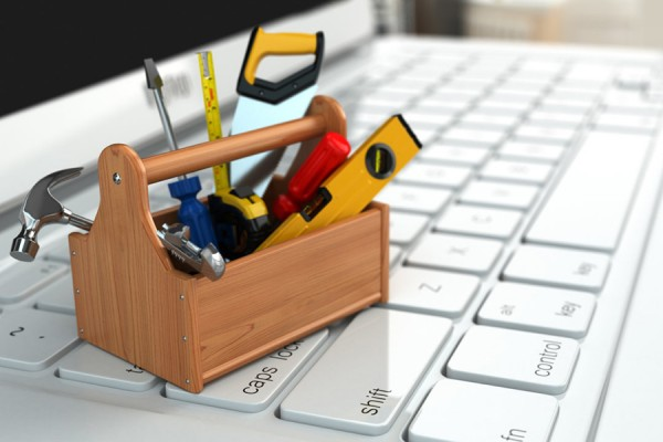 laptop keyboard with toolbox on it