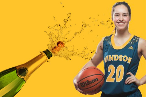 champagne bottle, basketball player