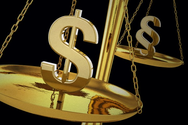 scale of justice weighing dollar signs
