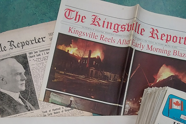 copies of Kingsville Reporter and Lakeshore News newspapers