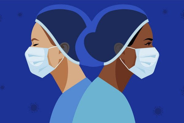 drawing of nurses wearing face masks