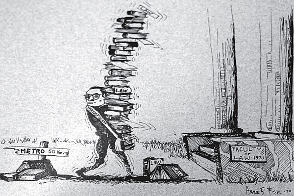 Then-dean of law Walter Tarnopolsky struggles under the weight of textbooks in a 1970 Oyez cartoon by artist Arnie Fisk.