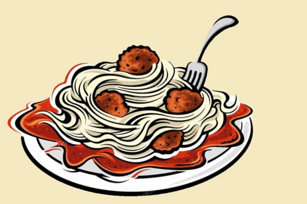 cartoon plate of spaghetti and meatballs