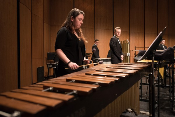 students at marimba and other percussion instruments