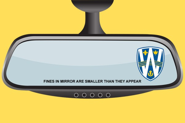 "rear-view mirror with UWindsor shield logo and wording ""fines may be smaller than they appear"""