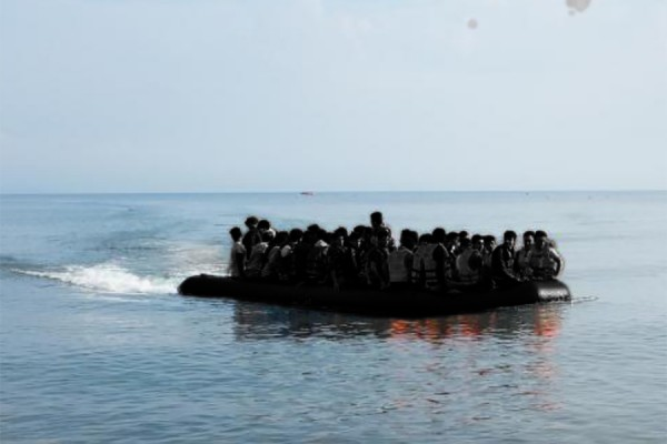 Refugees in rubber boat