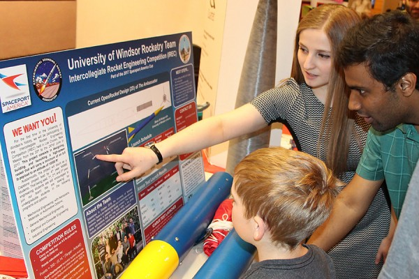 Rocketeers Liza DiCecco and Anthony Gudisey presented their project to members of the public Saturday during Science Rendezvous.